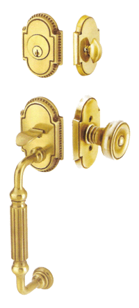 photo residential door hardware gold color